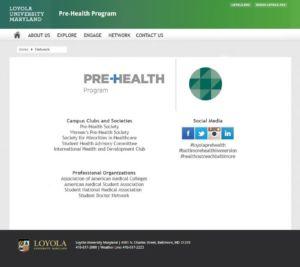 Mockup of Network Page for LUM Pre-Health Program Website